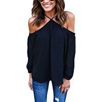 WLLW Women Chiffon Off Shoulder Long Sleeve Halter Neck Shirt Blouse Tops