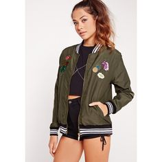 Missguided Black Trim Badge Bomber Jacket (€36) ❤ liked on Polyvore featuring outerwear, jackets, khaki, zip jacket, brown jacket, khaki bomber jacket, dressy jackets and bomber jackets