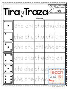 SIlabas en español - Tira y Traza - Incluye las letras ch, ll, ñ