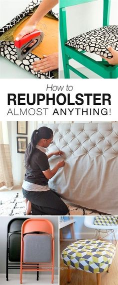 Fantastic How to Reupholster Almost Anything • Great ideas, projects and tutorials on reupholstering chairs, stools, headboards and more! The post How to Reupholster Almost Anything • Great ide ..
