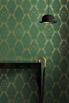Barneby Gates Boxing Hares Wallpaper - Billiard Green