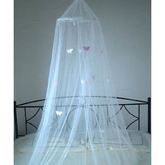 WHITE DECORATIVE BUTTERFLY BED CANOPY MOSQUITO NET