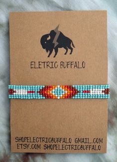 Black & Turquoise Beaded Bracelet by ShopElectricBuffalo on Etsy Native Beading Patterns, Native Beadwork, Seed Bead Patterns, Loom Bracelet Patterns, Bead Loom Bracelets, Beaded Hat Bands, Bead Loom Designs, Loom Beading, Bead Weaving