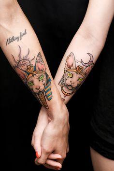 sphynx cat couple tattoo Pharaoh Cleopatra anzo choi