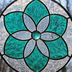 teal stained glass flowers | Teal Green Stained Glass Star Flower Suncatcher by LivingGlassArt