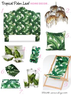 There is a tropical storm of a trend in interior design and its all about the palm leaf. Get the look: Tropical Palm Leaf Home Decor, Palm Beach Design