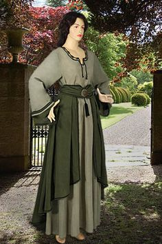 European-Style Saxon Dress No. 50 Green - 134.00USD - Medieval and Renaissance Clothing, Handmade by Your Dressmaker