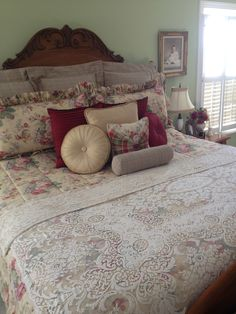 Repurposed Quaker lace tablecloth used as a coverlet.