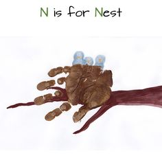 Mommy Minutes: ABC Handprint Art Part 3... N is for Nest