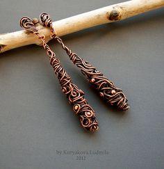 WireDream - серьги Медея  #wirework #earrings Copper Earrings