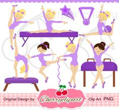 Purple Gymnastics Girls Digital Clipart Set for -Personal and Commercial Use-paper crafts,card making,scrapbooking,web design via Etsy Gymnastics Birthday, Gymnastics Girls, Gymnastics Cakes, Soccer Poses, Doodle Characters, Gymnastics Videos, Christmas Train, Cartoon Kids, Digital Stamps
