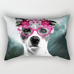 Wild Beauty Girly Doggy Rectangular Pillow Skull, Girly, Throw Pillows, Beauty, Art, Women's, Art Background, Toss Pillows, Girly Girl