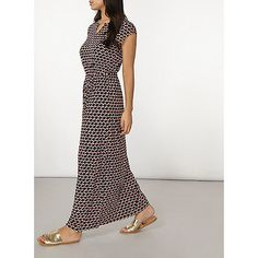 Dorothy Perkins Coral and black geo print jersey maxi dress | Debenhams