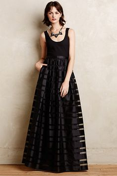holiday style! black organza striped ball gown // anthropologie