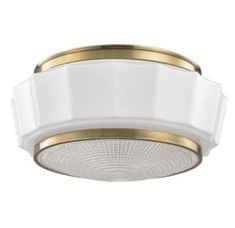 """View the Hudson Valley Lighting 3814F Odessa 2 Light 13"""" Flush Mount Ceiling Fixture with Glossy Mouth-blown Opal Triplex Glass at LightingShowplace.com."""