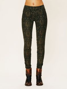Free People Printed Cord Skinny at Free People Clothing Boutique