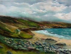 Spectacular Seascapes off the Coast of Ireland: The Wild Atlantic Way - Vast, rugged, untamed shores! This is where land and sea collide and the undulating waves beat a rhythm to the shore. Oil On Canvas, Ireland, Golf Courses, Waves, Sea, Fine Art, House, Painting, Outdoor
