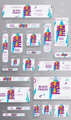 Buy Black Friday Banner Pack by ambergraphics on GraphicRiver. Stand out of the crowd with a perfect banners pack. Big set of banners – 21 various forms and sizes to improve the lo. Web Banner Design, Banner Design Inspiration, Ad Design, Flyer Design, Branding Design, Social Media Banner, Social Media Design, Design Websites, Banner Template