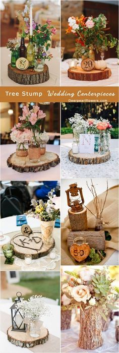 rustic tree stump wedding centerpieces / http://www.deerpearlflowers.com/rustic-woodsy-wedding-trend-tree-stump/ #rustic #rusticwedding #countrywedding #weddingideas