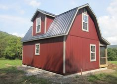 Two Story Dutch Cabin Shell with 6 Porch Photo Poll Barn House, Barn House Plans, Small House Plans, Shed Plans, Garage Plans, House Plan With Loft, Shed To Tiny House, Tiny House Cabin, Tiny Houses