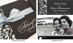 A matching wedding website with wedding invitation. http://www.weddings9.com/wedding-invitations/Modern-Matte-Black-Card-with-Bow-and-RSVP