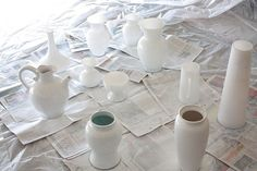 Make your own milk glass with spraypaint. sneaky