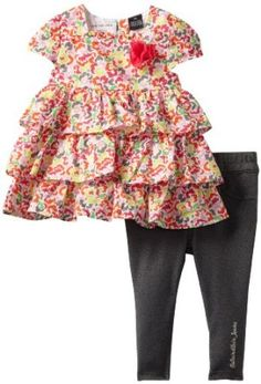 Calvin Klein Baby-girls Infant Printed Tunic with Pants, Orange/Pink, 24 Months Calvin Klein. $19.00