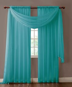 Warm Home Designs Pair of Turquoise Sheer Curtains or Scarf