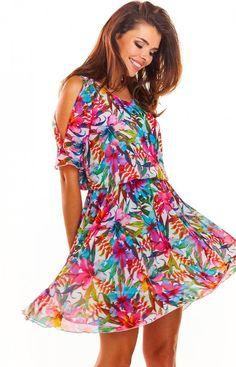 Awama Zwiewna sukienka w kolorowy wzór A295 Fashion Moda, Floral, Casual, Model, Pink, Dresses, High Point, Sunny Days, Cold Shoulder