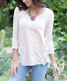Beige Crochet Three-Quarter Sleeve Top