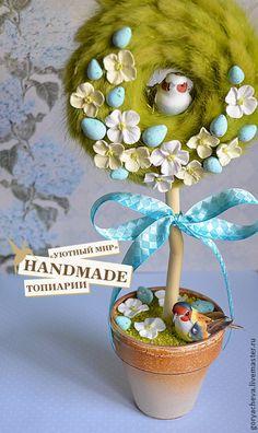 """Купить Топиарий """"Светлая Пасха"""" - топиарий, топиарий дерево счастья, топиарий из сухоцветов, весеннее настроение"""