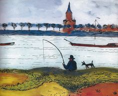 August Macke - Landscape with Fishermen, 1911 at Lenbachhaus Munich Germany | Flickr - Photo Sharing!