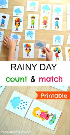 Preschoolers will love this rainy day printable number matching game!