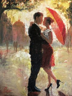 This is an original oil painting by artist Christopher Clark. Love and romance, brought together in the glistening afternoon sun by a simple red umbrella. Own this original painting today and experience this simple romantic moment over and over again.