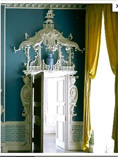 Carved wood Chinoiserie door surround at Claydon, in England | via Carolyne Roehm