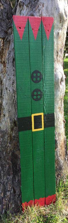 Rustic Elf Suit Sign / Wooden Elf Sign / Rustic Santa Suit