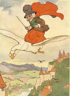 1920 S Frank Adams Nursery Rhyme Print Mother Goose Old Woman Sitting On Flying Through Air Red Cloak Children Book Ilration
