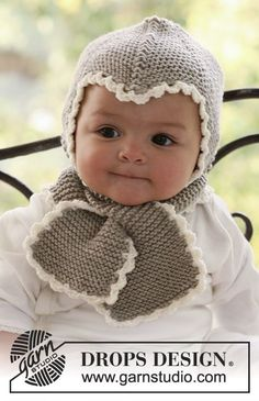DROPS bonnet and scarf in garter st with crochet borders in Merino Extra Fine . Free pattern by DROPS Design. #FreePattern