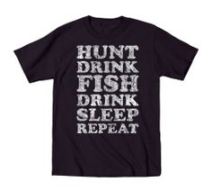 Hunt Fish Drink Repeat Vintage Sport - Mens T-Shirt - Funny T-shirt design - hunting and fishing
