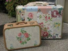 Decoupaged Suitcases