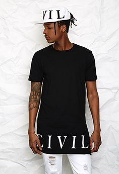 Civil Regime Zippered Longline Tee | 21 MEN | #f21men