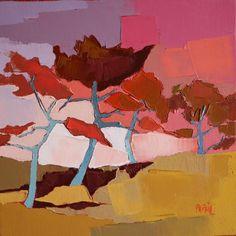 """""""Les Pins dans la Montée"""" by Françoise Papail (Undated) Abstract Tree Painting, Abstract Art, Landscape Art, Landscape Paintings, Bright Colors Art, Pink Drawing, Diy Canvas Art, Tree Art, Artist Art"""