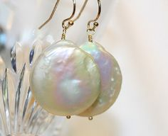 FRESHWATER  PEARL EARRINGS pearl coin earrings by thedesigncompany, $56.00