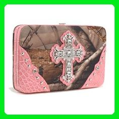 HPW - Realtree ?? Camouflage Extra Deep Frame Wallet Purse w/ Rhinestone Cross-Pink Color: Camouflage/ Pink Trim - Wallets (*Amazon Partner-Link)