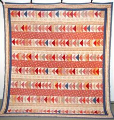 """Blue And Red Patchwork Triangle Quilt, 84"""" x 92"""", Burley Auction Group, Live Auctioneers"""
