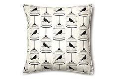 Birdcage 18x18 Pillow, White/Black on OneKingsLane.com