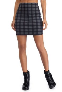 <p>Channel classic plaid this season to school them all in how its done! Mini skirt features a high waist fit, slim straight fit and anall over gray fabric features hues of blue and red to create a perfect plaid pattern. Skirt iscomposed of a knit fabric that offer a form fit with little to no stretch. Includes back zipper closure and thin knit lined interior. This item is part of a set, be sure to pick up the matching crop top complete your look!</...