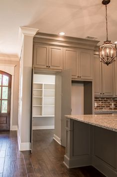 Marquis hidden pantry- this is going to be in the new house! I can't wait to have a hidden pantry! Acadian House Plans, Lake House Plans, Hidden Pantry, Walk In Pantry, Hidden Storage, Open Pantry, Small Pantry, Kitchen Pantry Design, Kitchen Decor