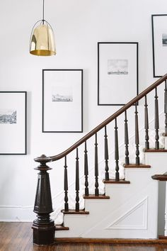 Gallery Wall Frames, Frames On Wall, Photo Gallery Walls, Stair Gallery Wall, Modern Gallery Wall, Art Gallery, Black And White Stairs, Entryway Stairs, Entryway Decor