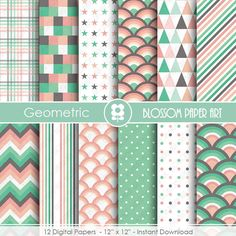 Digital Paper Mint Peach Digital Papers, Scrapbooking Paper Pack, Mint Peach Papers - INSTANT DOWNLOAD - 1830